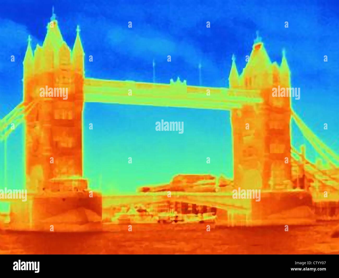 Image thermique de Tower Bridge Photo Stock