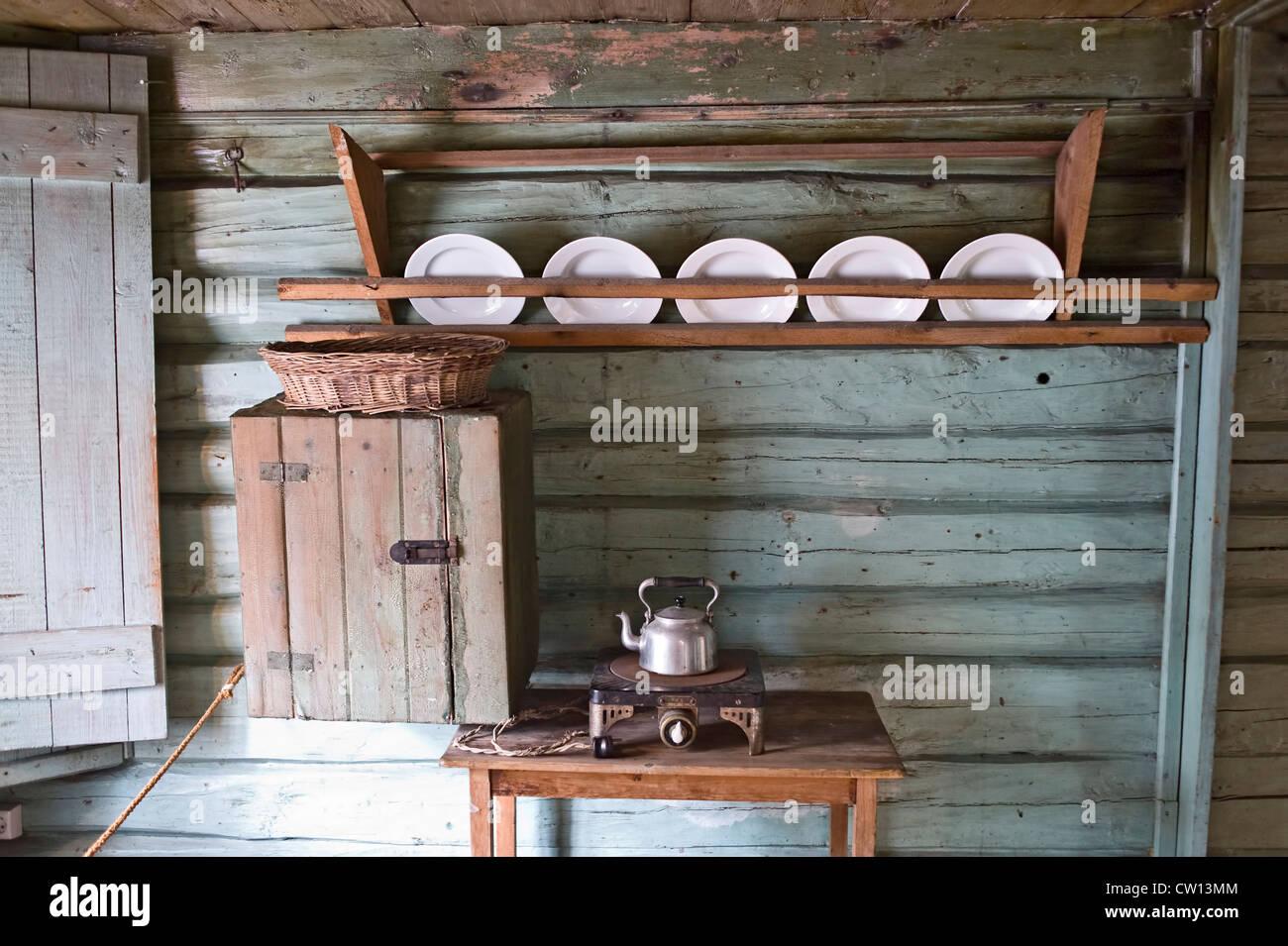 Cuisine De Style Ancien Dans Home En Bois Banque D Images Photo