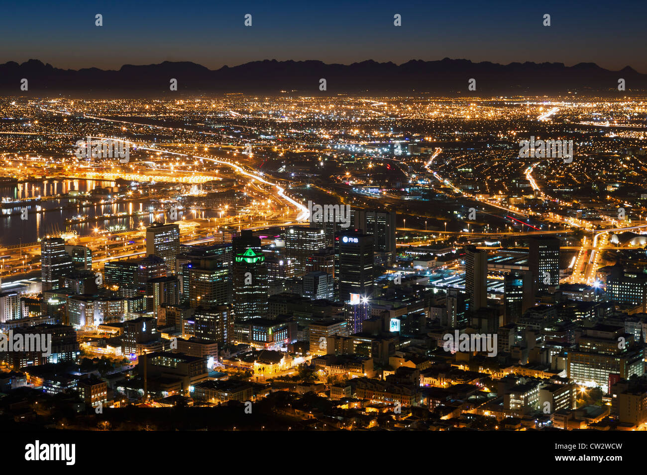 Centre-ville du Cap au lever du soleil. Cape Town Afrique du Sud. Photo Stock