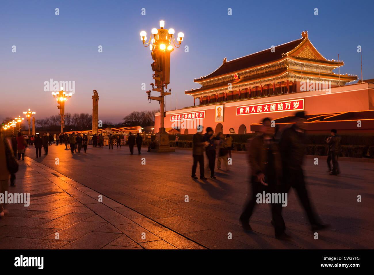 La porte de Tiananmen, la porte de la paix céleste, Beijing, Chine, Photo Stock