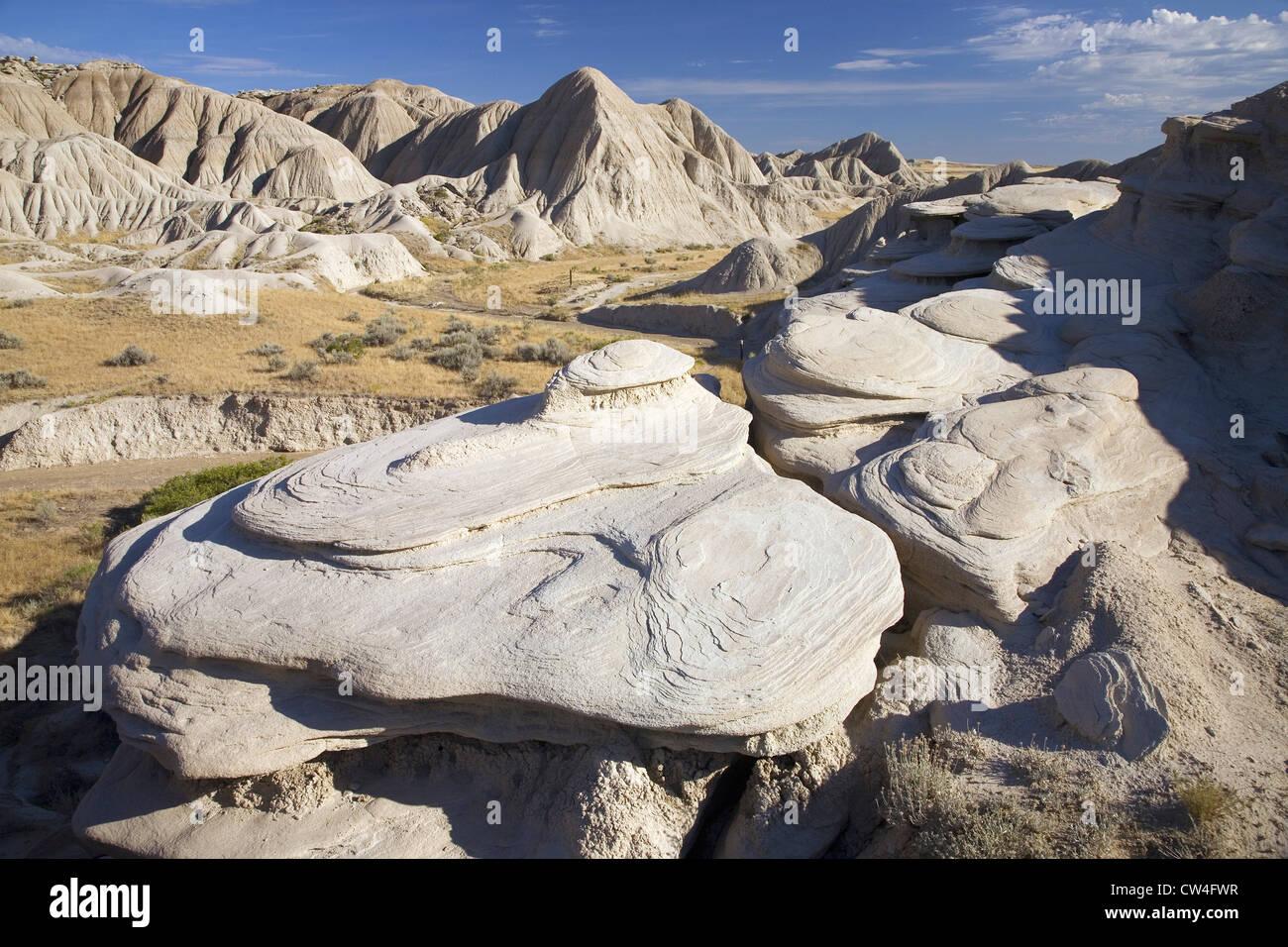Rock formations in Toadstool Geologic Park badlands région formées sur l'Escarpement de Pine Ridge flanc près de Banque D'Images