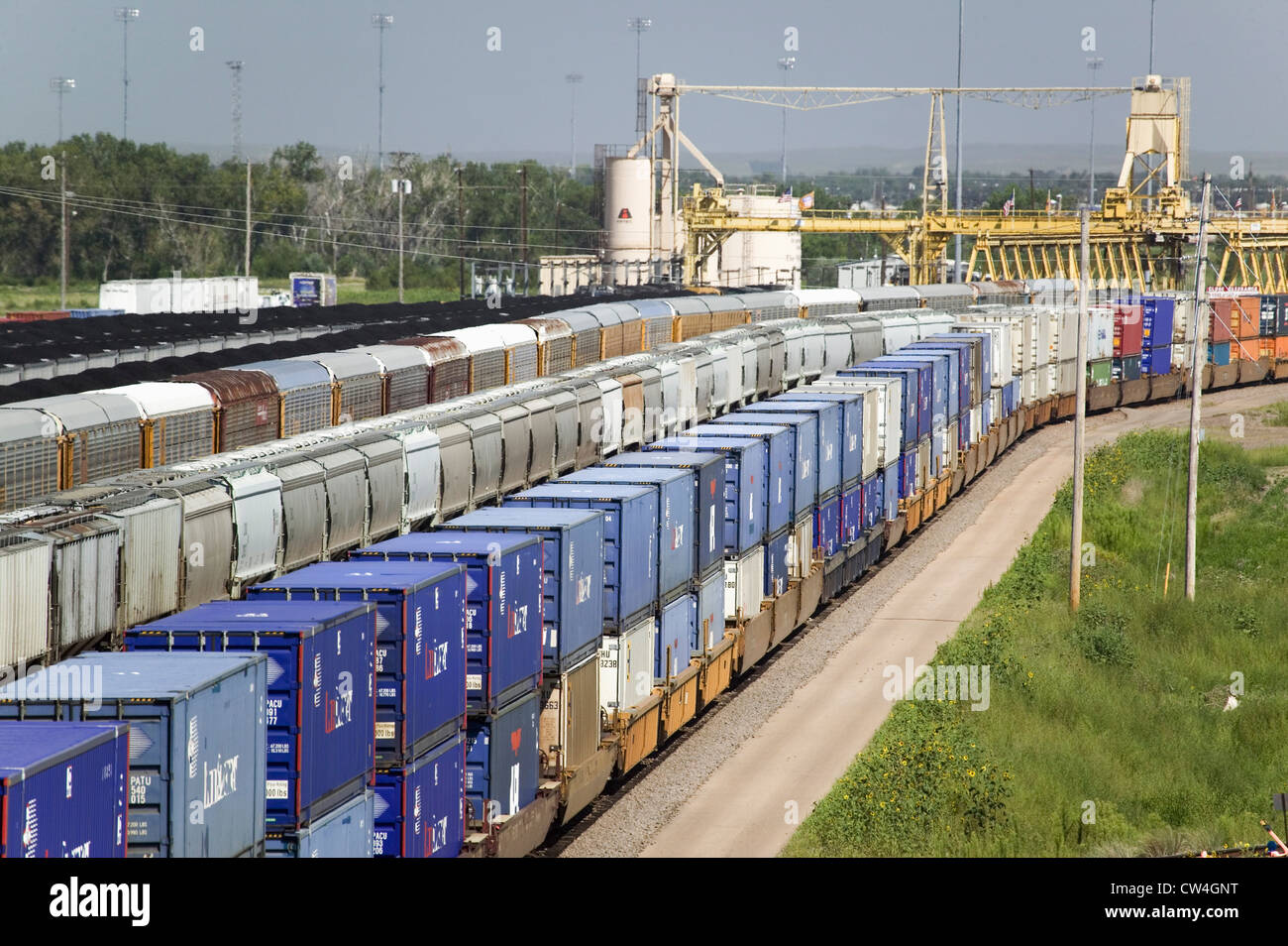 Portrait des wagons de la Union Pacific's Bailey Triage ferroviaire North Platte Nebraska plus grand chemin de fer Banque D'Images