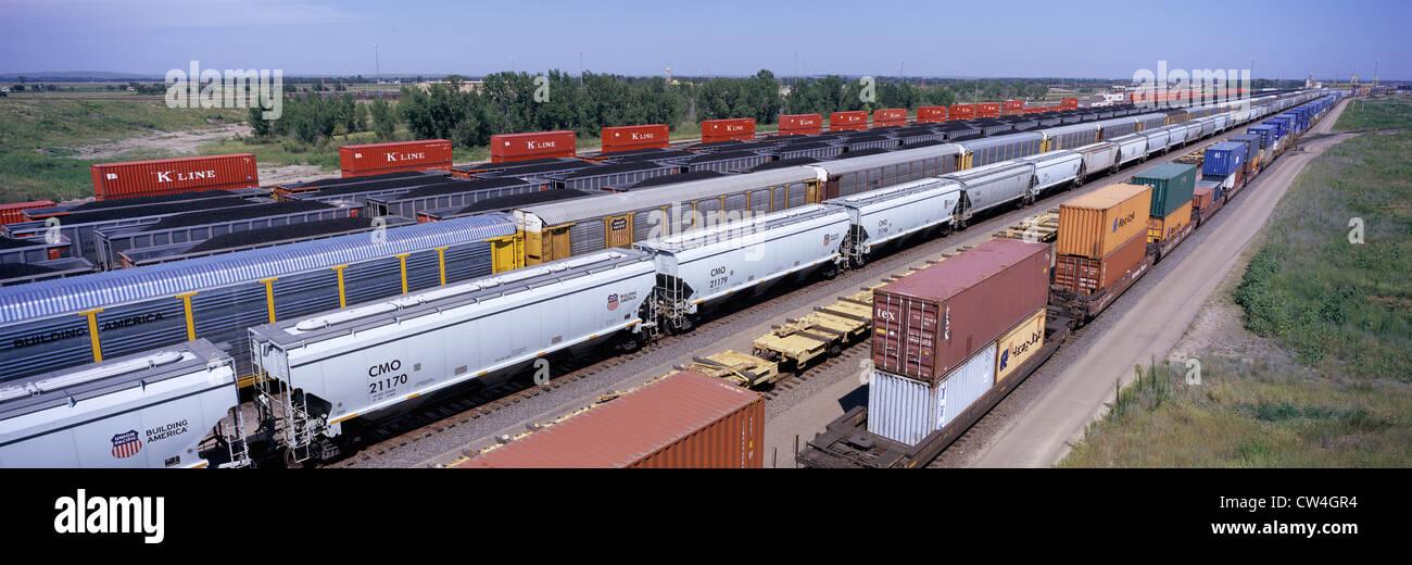 Vue panoramique des wagons de la Union Pacific's Bailey Triage ferroviaire North Platte Nebraska plus grand chemin Banque D'Images