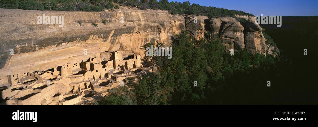 Vue panoramique sur la falaise Cliff Palace indien habitation ruine en importance en Amérique du Nord Le Parc National Banque D'Images