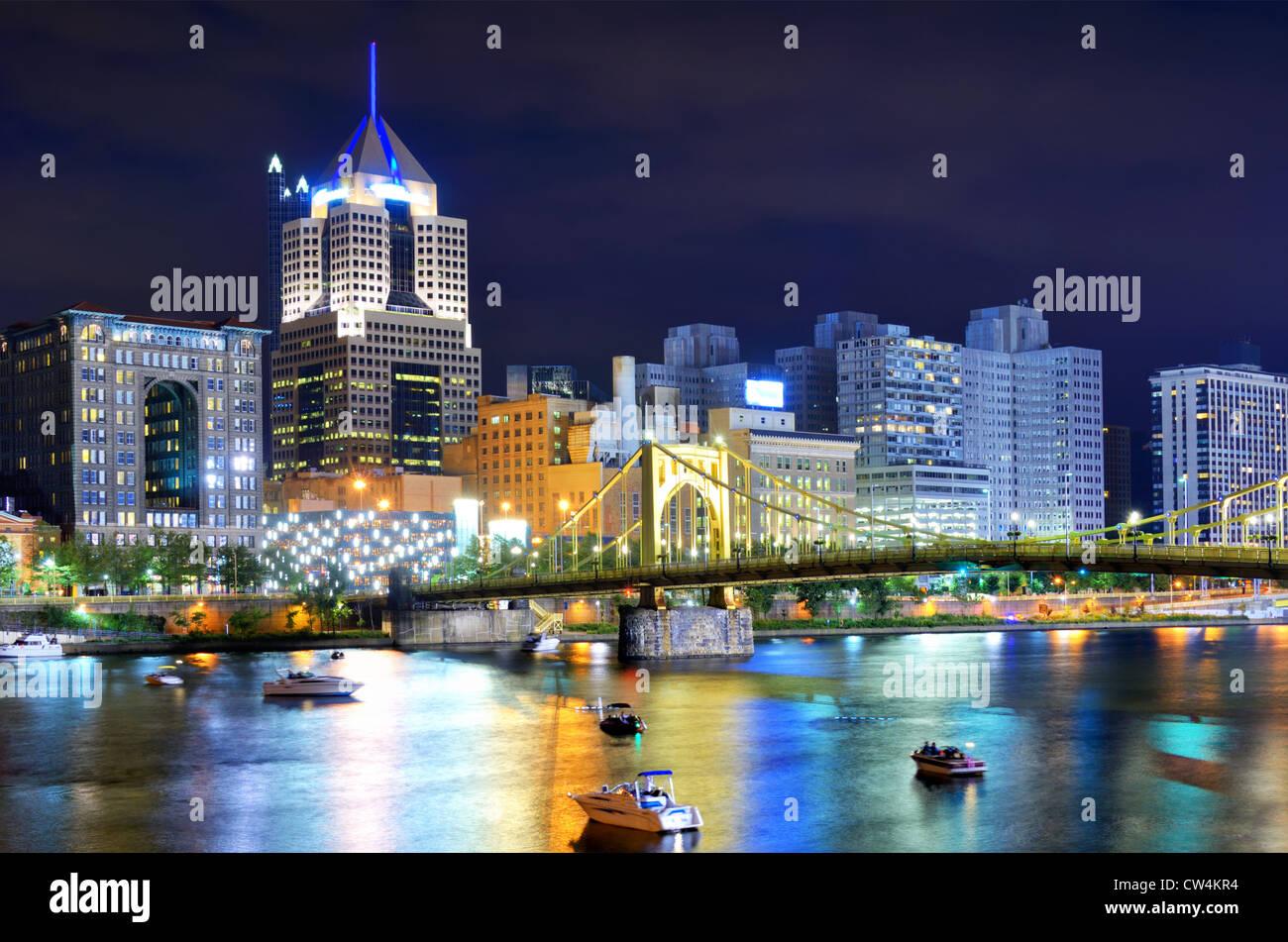 Gratte-ciel dans le centre-ville de Pittsburgh, Pennsylvanie, USA. Photo Stock