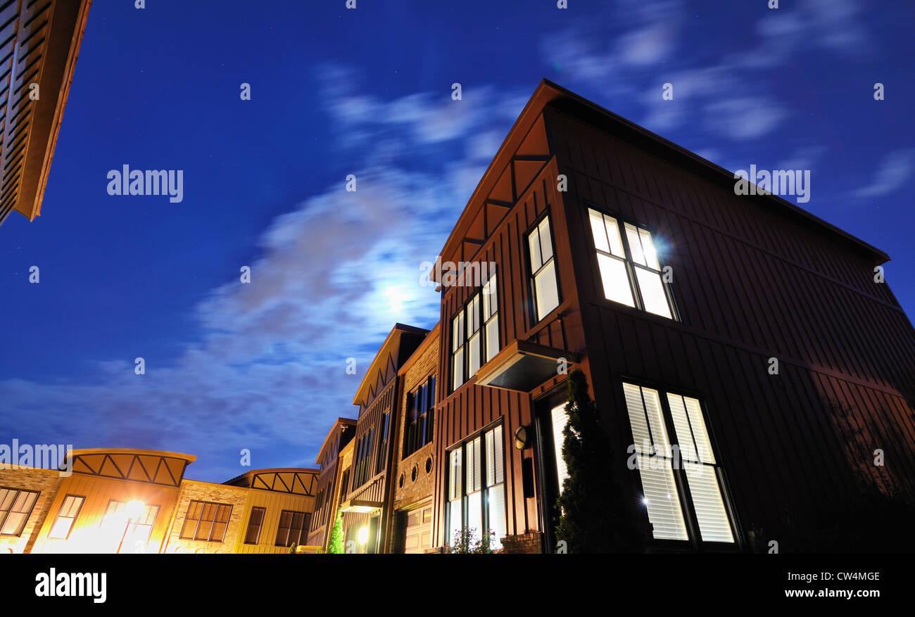 Les appartements de la nuit Photo Stock