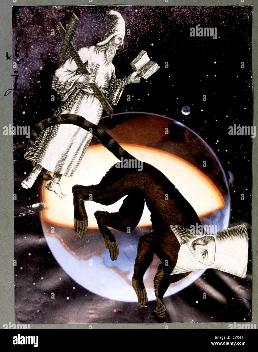 Autour de la terre, collage de Jacques Prévert Photo Stock