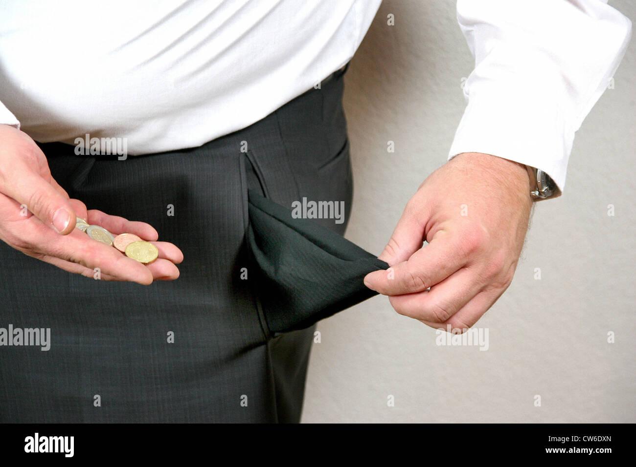 Vide poche du pantalon Photo Stock