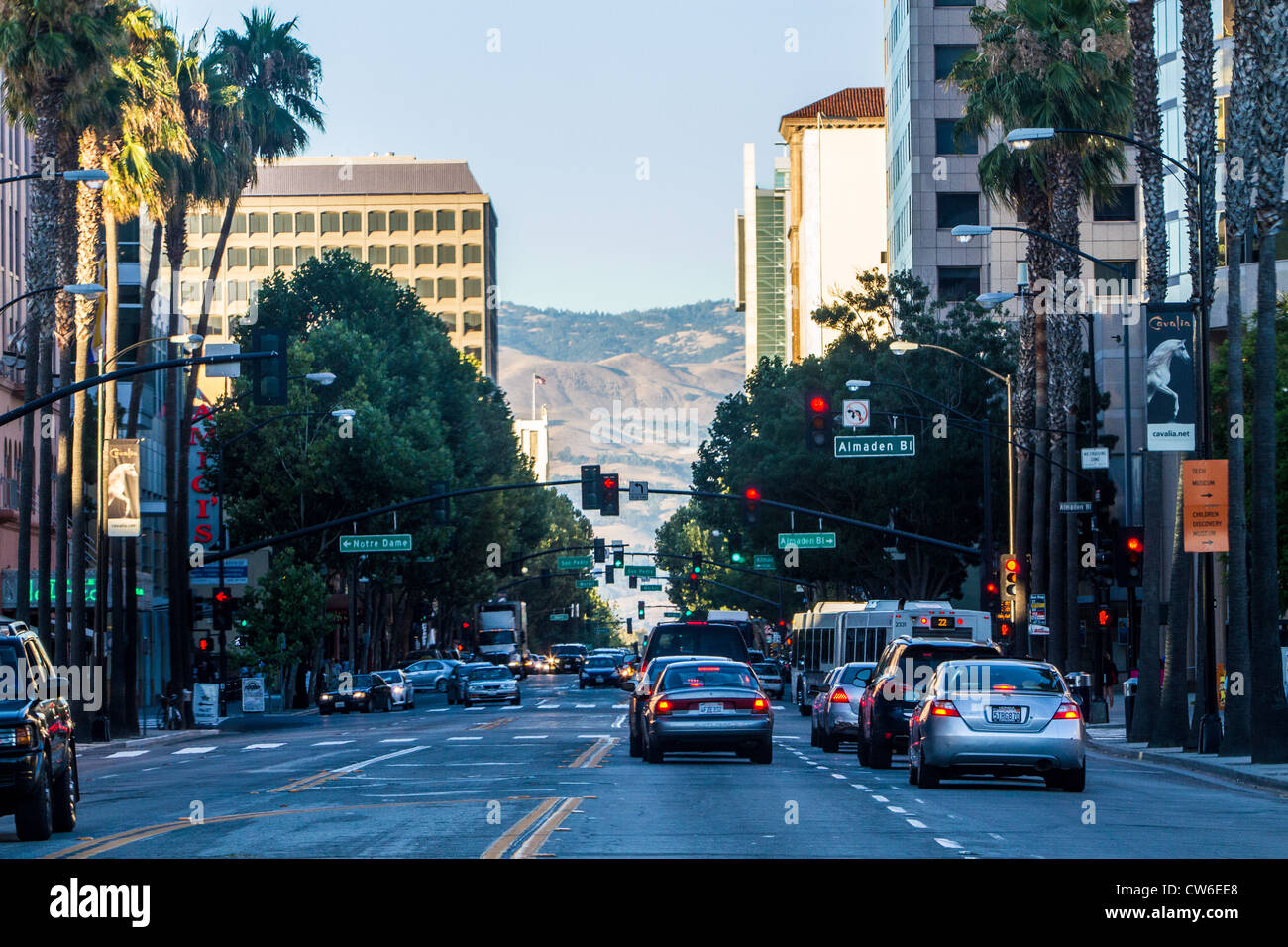 Santa Clara Street San Jose en Californie Photo Stock