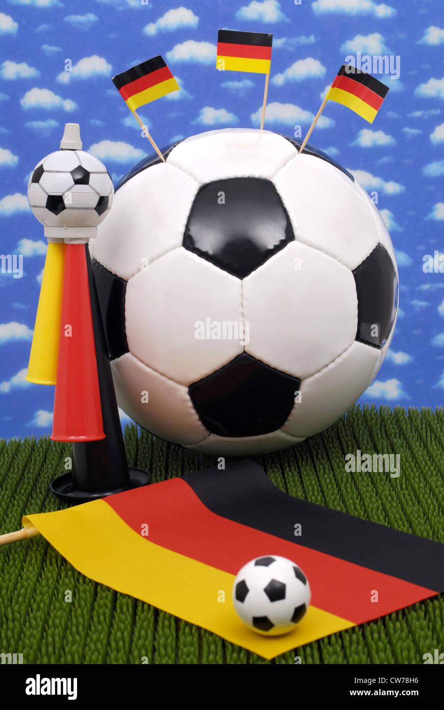 Ballons avec drapeaux allemands Banque D'Images
