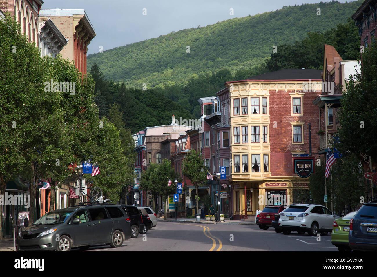Le centre-ville de Jim Thorpe, Pennsylvanie. Photo Stock