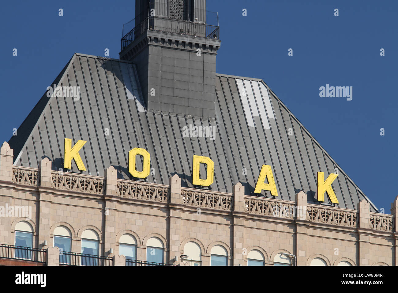 Signe de KODAK. Eastman Kodak Company, Rochester, New York, USA. Haut de monde bâtiment du Siège. Photo Stock