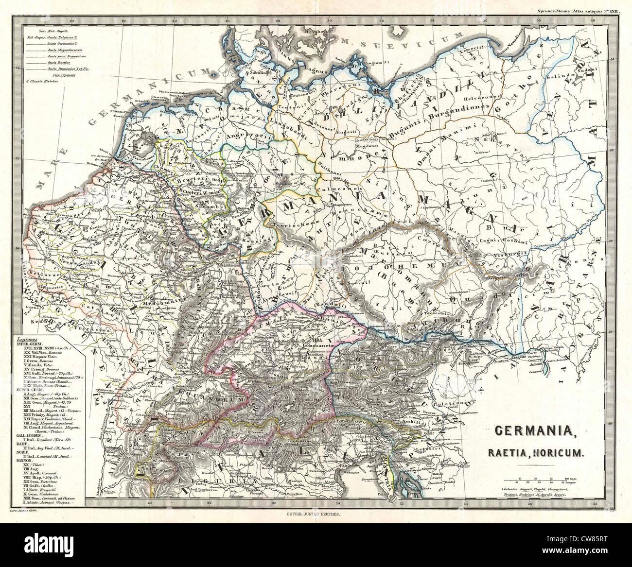 Spruner 1865 Carte de l'Allemagne dans l'Antiquité Photo Stock