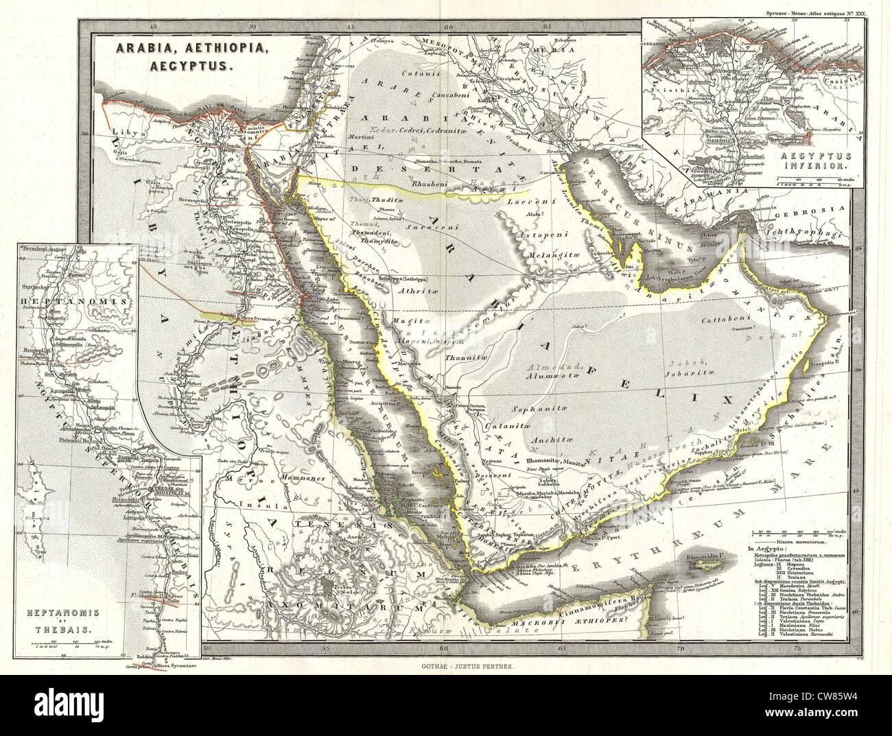 Spruner 1865 Carte de l'Arabie et l'Égypte dans l'Antiquité Photo Stock