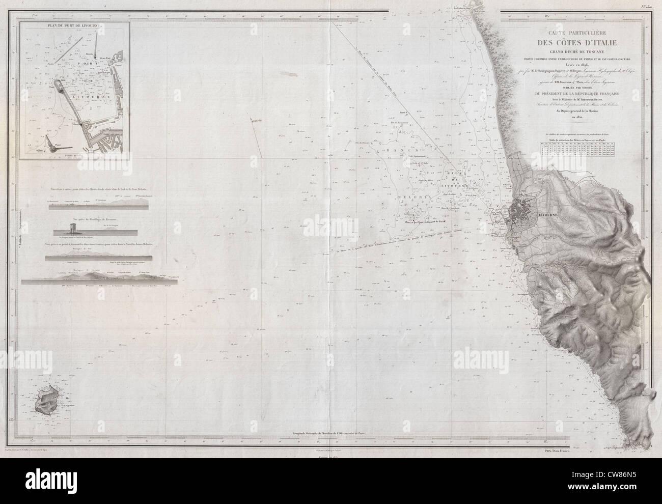 1852 Depot De La Marine Carte Marine Ou Site De Livourne