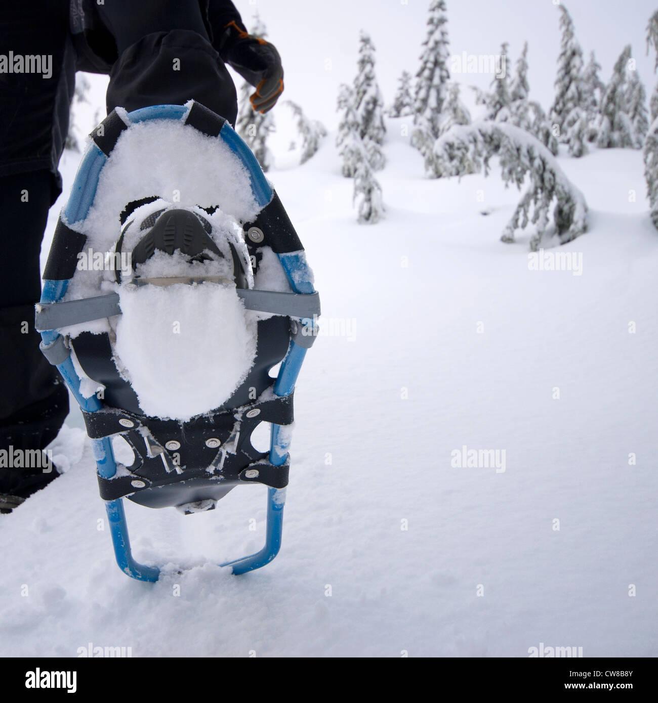 Gros plan d'une raquette sur un pied d'une personne courant en hiver sur la neige Photo Stock