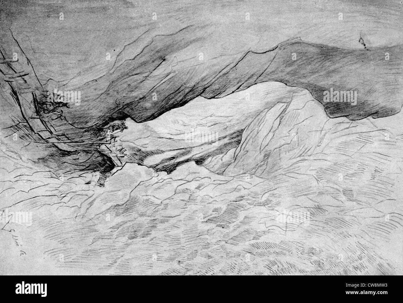 Gorges rocheuses, illustration par Gustave Doré Photo Stock