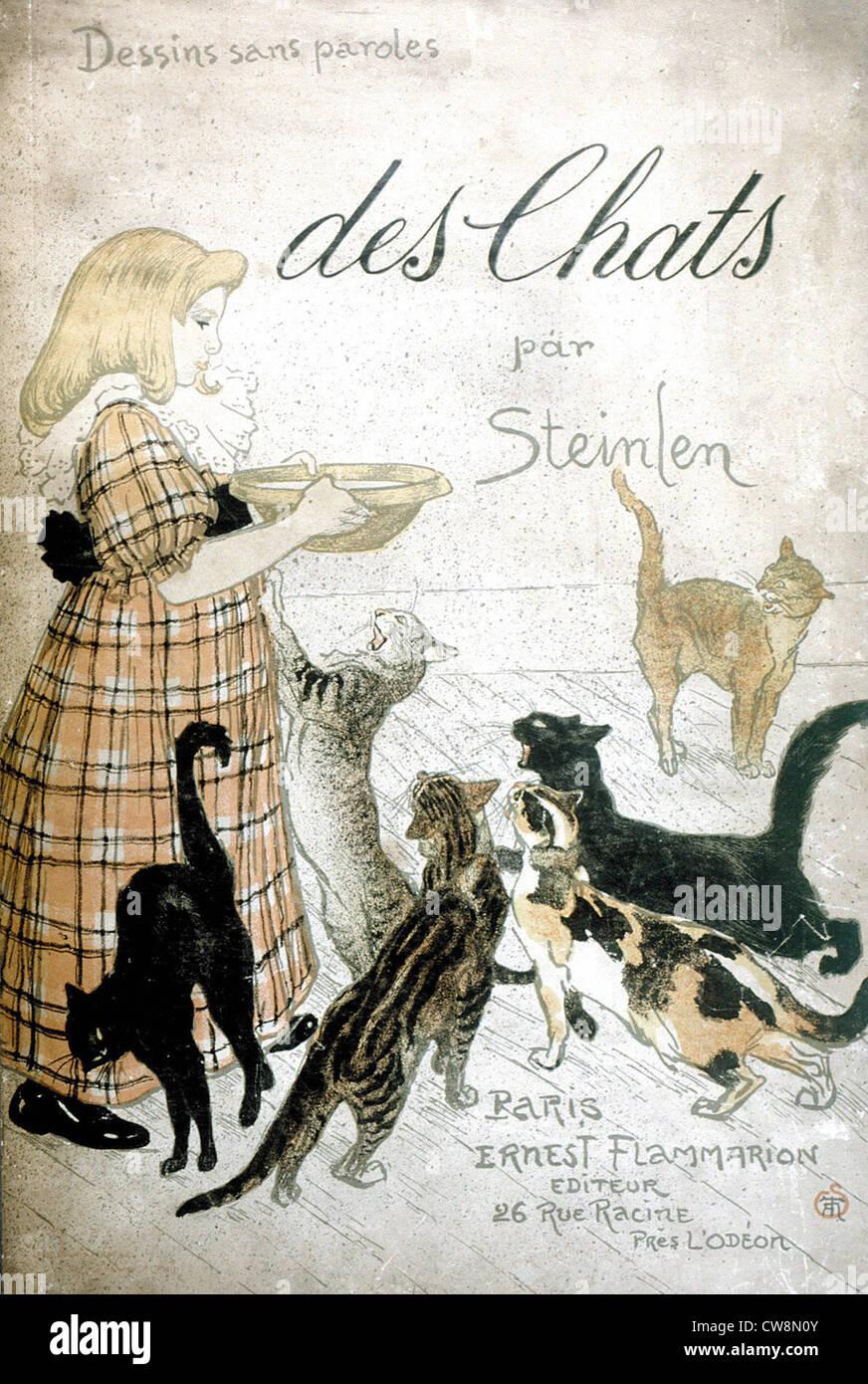 Les chats, des images sans mots par Steinlen Photo Stock