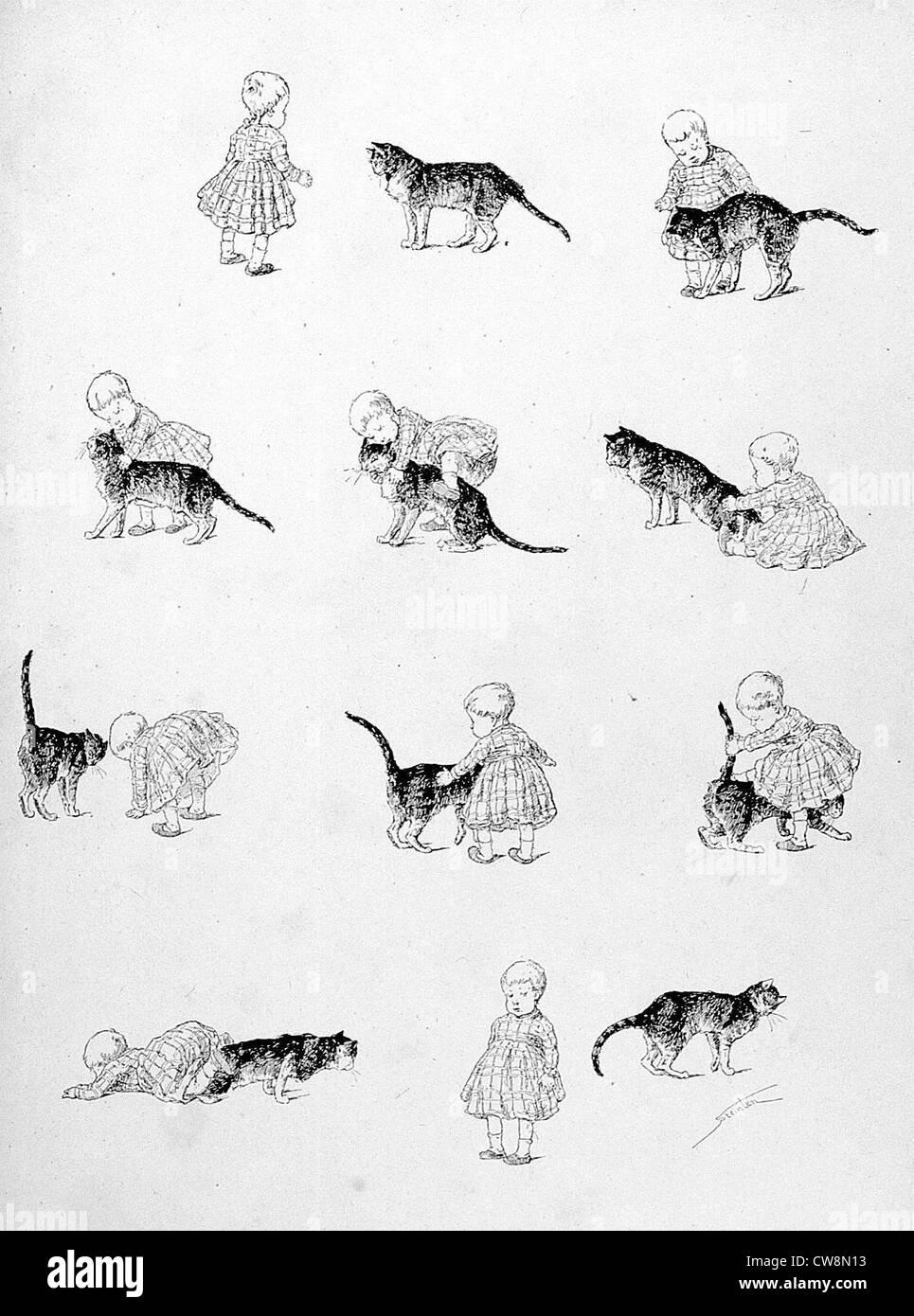 Les chats, les méchants dada par Steinlen Photo Stock