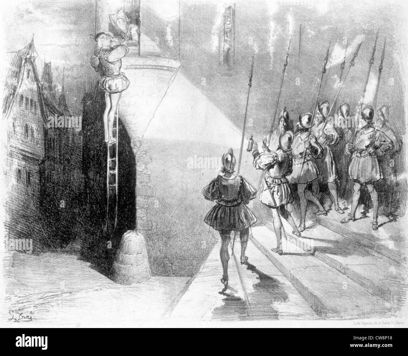 Lookout company dans le 16e siècle, illustration par Gustave Doré Photo Stock