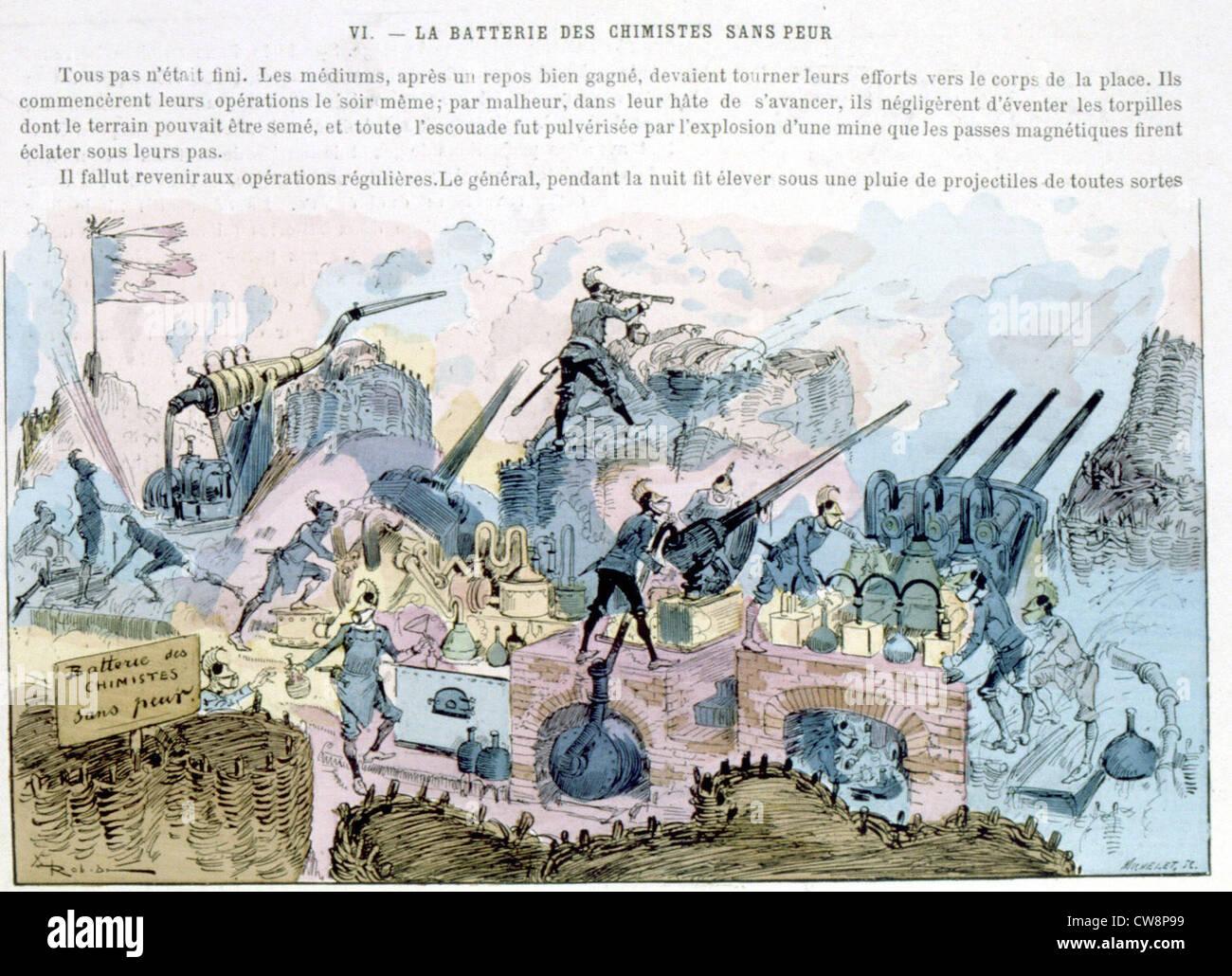 La guerre au xxe siècle, illustration par Robida Photo Stock