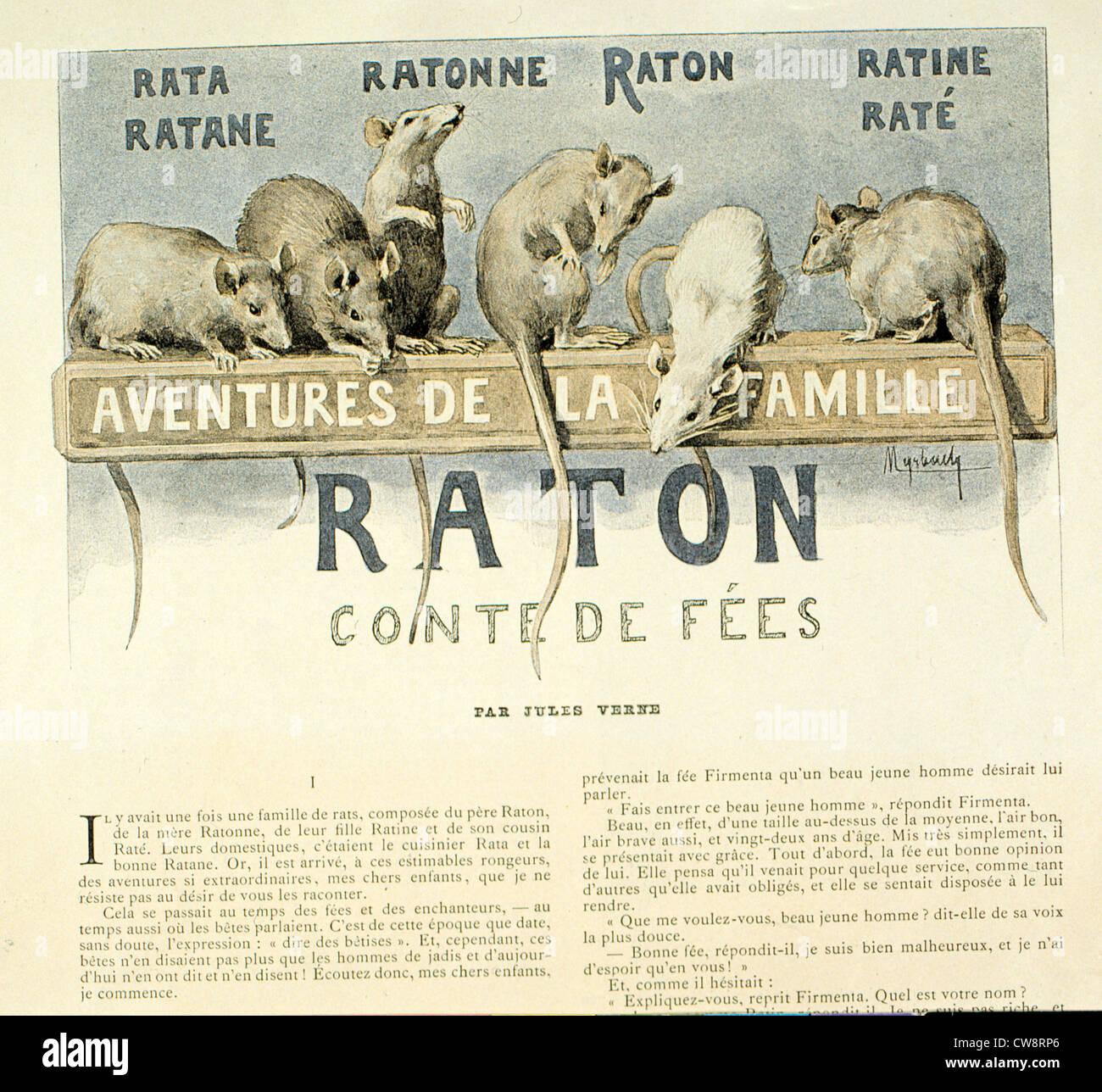 Les aventures Monsieur Rat sa famille histoire courte illustration Myrbach Jules Verne Photo Stock
