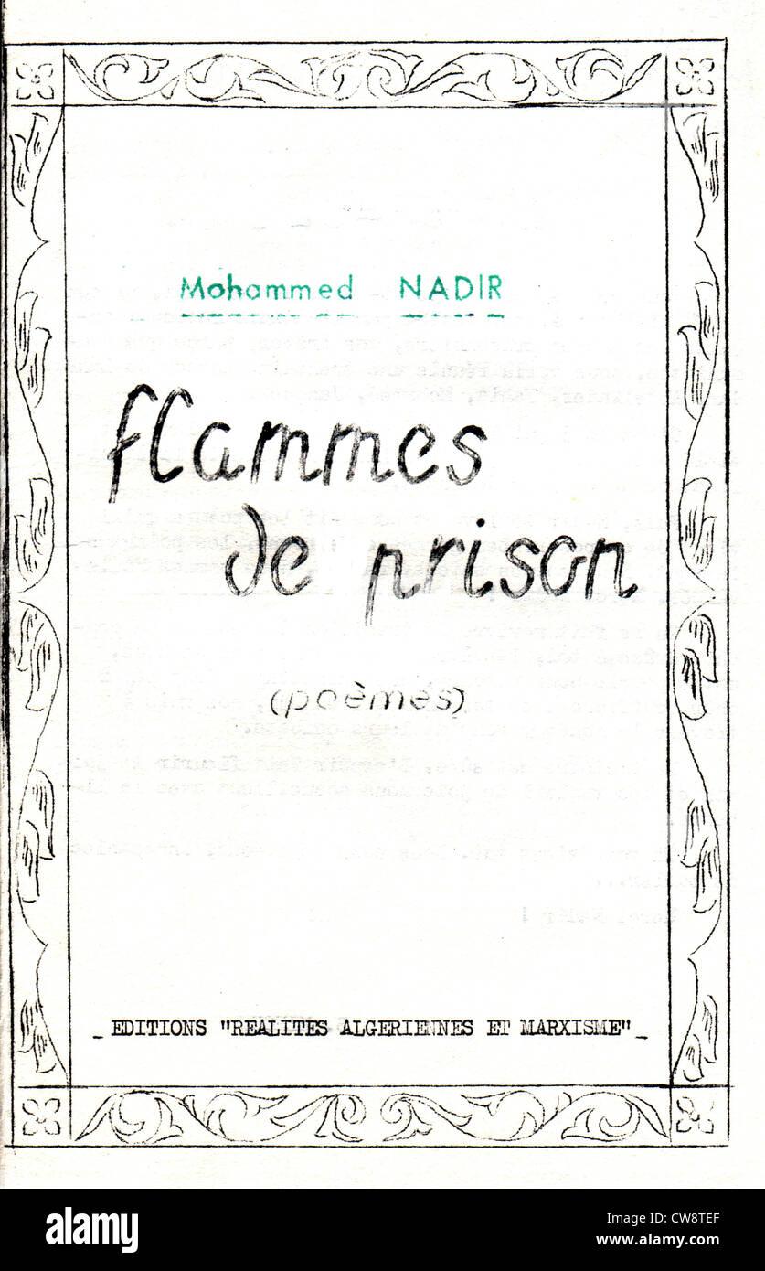 Notice de poèmes par Mohamed Nadir Banque D'Images