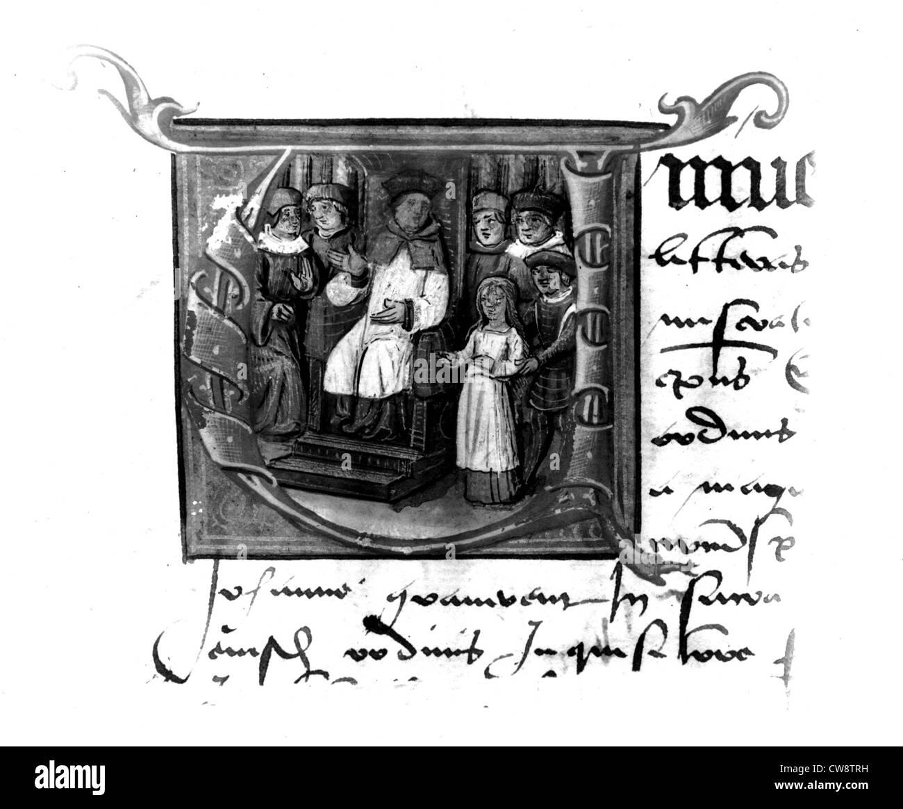 Manuscrit Latin anonyme, le procès de Jeanne d'Arc Photo Stock