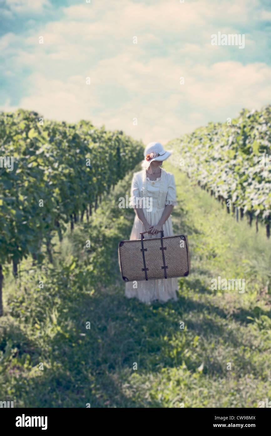 Une femme en blanc, robe victorienne en balade entre vignobles Photo Stock