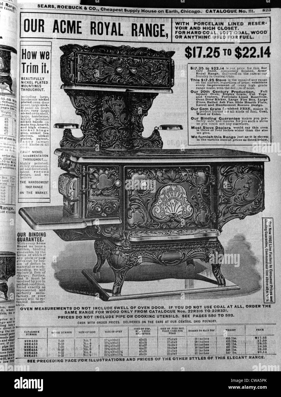 Annonce pour un four de charbon dans un catalogue Sears 1902.. Avec la permission de la CSU: Archives / Everett Photo Stock