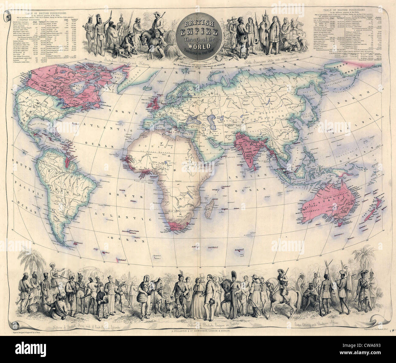 1850, la carte de l'Empire britannique dans le monde entier, avec des illustrations de l'habitant de l'Empire. Photo Stock