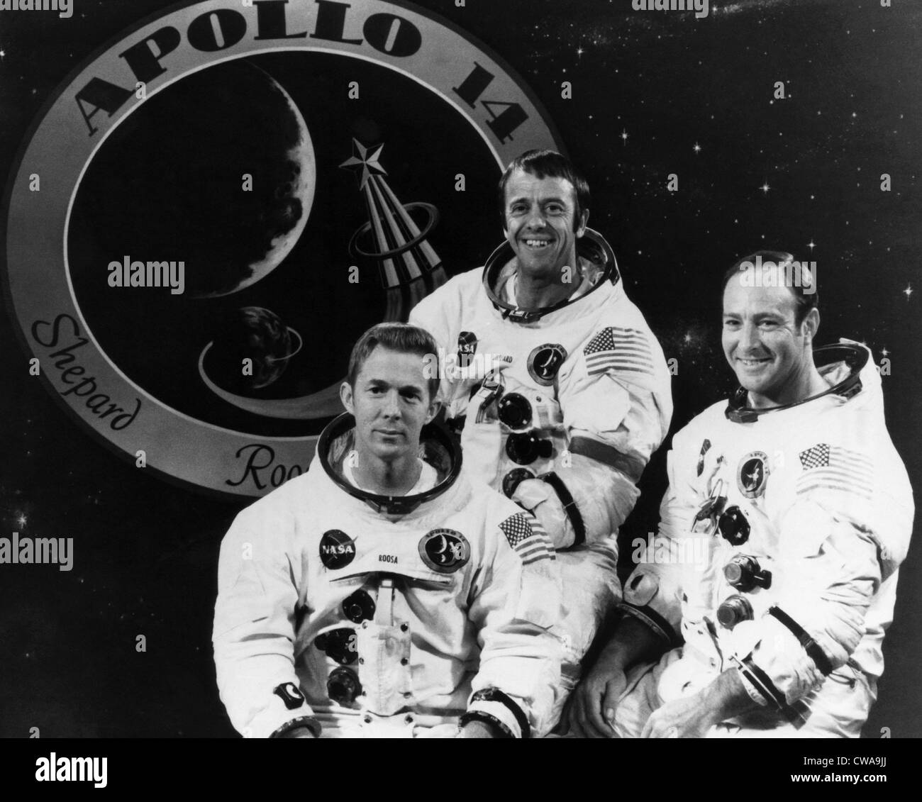 L'équipage d'Apollo 14, la L-R : Stuart Roosa, Alan Shepard, Edgar Mitchell, 1971.. Avec la permission Photo Stock