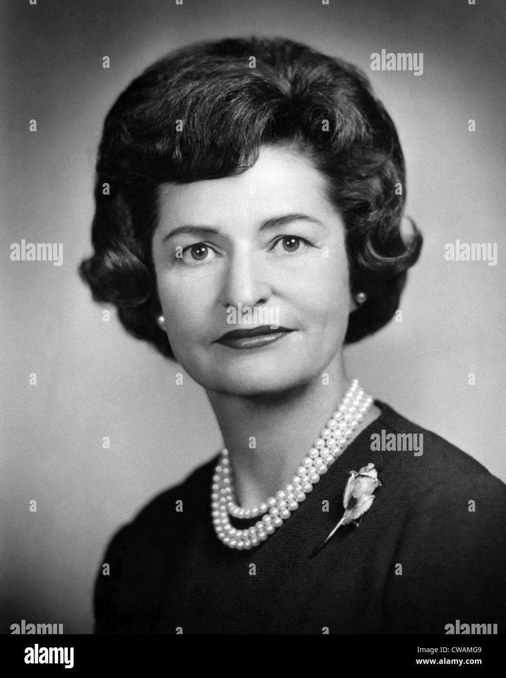 Lady Bird Johnson, ca.au début des années 60. Avec la permission de : Archives CSU/Everett Collection. Photo Stock