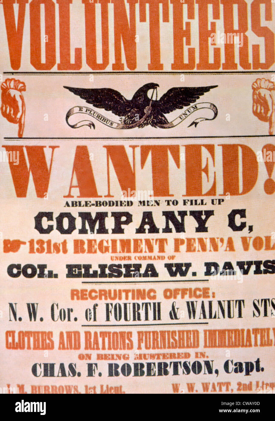 Affiche de recrutement de l'Armée de l'Union, ca. 1861 Photo Stock