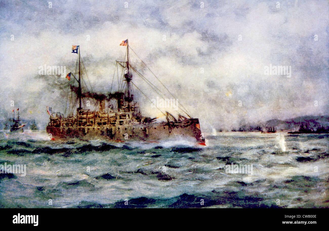 La bataille de la baie de Manille, le croiseur américain Olympia tirer le premier coup, le 1 mai, 1898, peinture Photo Stock