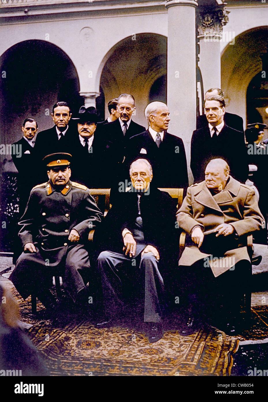 La Conférence de Yalta (assis), Joseph Staline, Franklin D. Roosevelt, Winston Churchill, Février, 1945 Banque D'Images