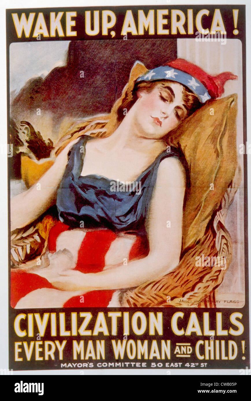 La Première Guerre mondiale poster américain par James Montgomery Flagg, 1918 Photo Stock