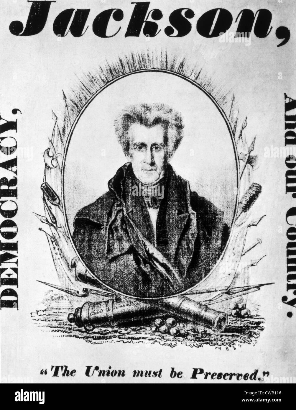 Andrew Jackson, l'affiche de la campagne présidentielle 1832 Photo Stock
