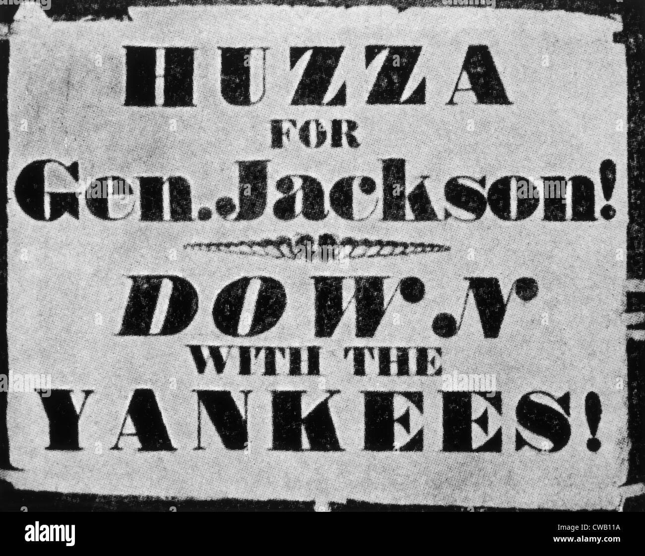 Andrew Jackson, l'affiche de la campagne présidentielle 1828 Photo Stock