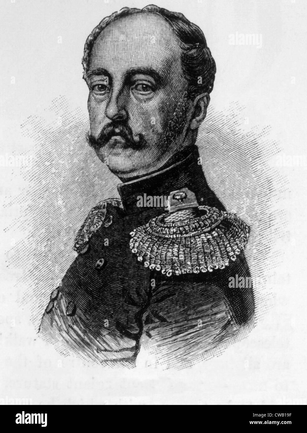 Tsar Nicolas Ier (1796-1855), Tsar de Russie (1825-1855), gravure 1886 Photo Stock