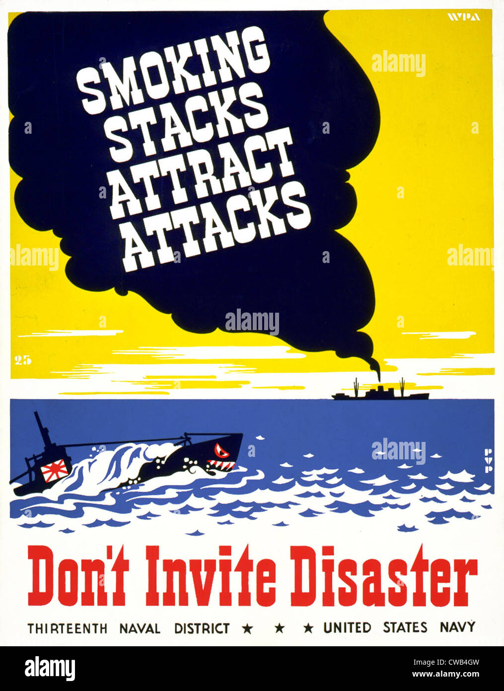 La Seconde Guerre mondiale, pour l'affiche de la treizième district naval, United States Navy, montrant Photo Stock