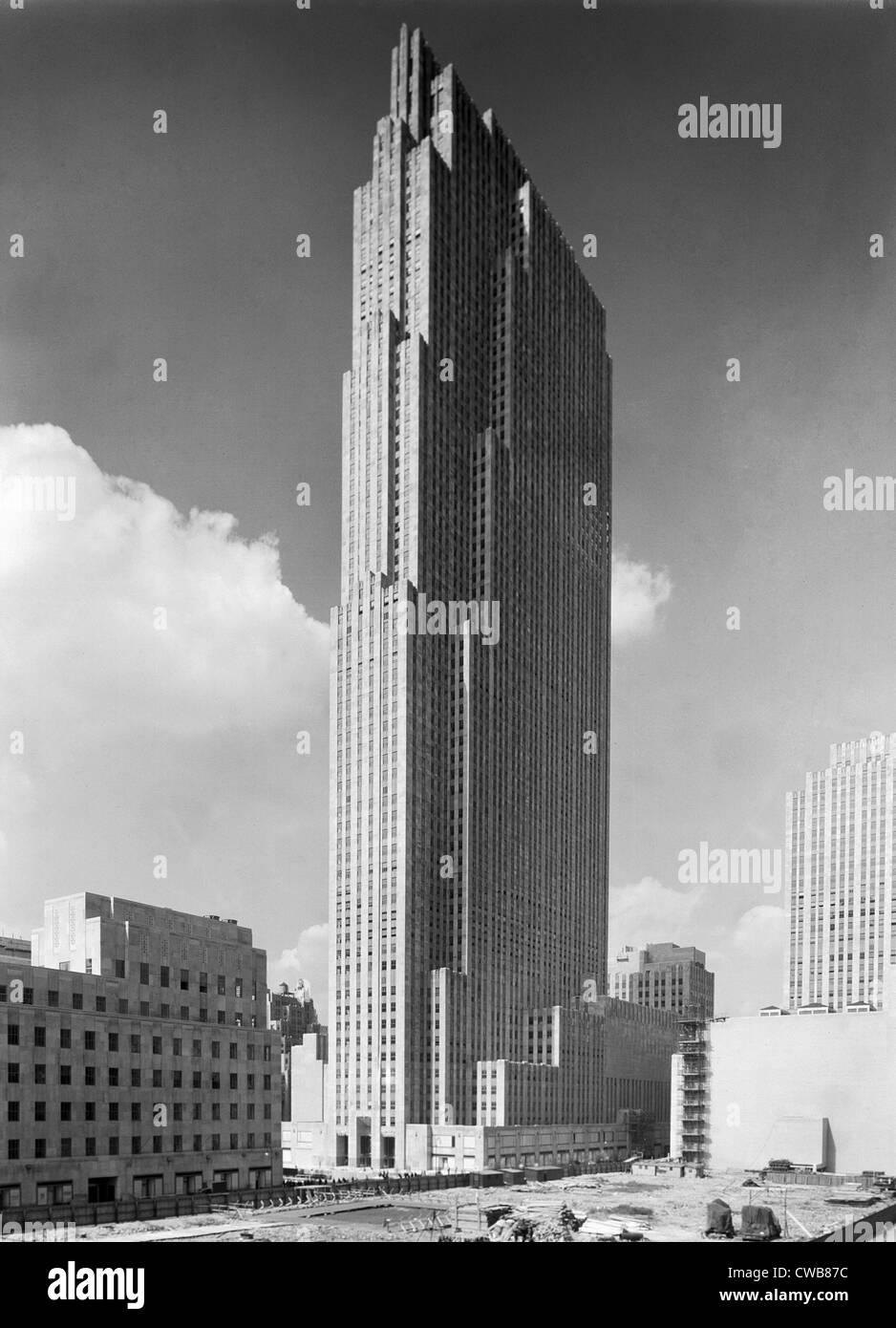 La ville de New York, le Rockefeller Center et RCA Building. photo par Samuel H. Gottscho, 1933. Photo Stock