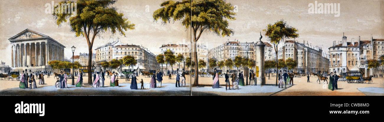 Boulevard de la Madeleine à Paris, France. couleur lithographie de Paul Lancel, 1852 Banque D'Images