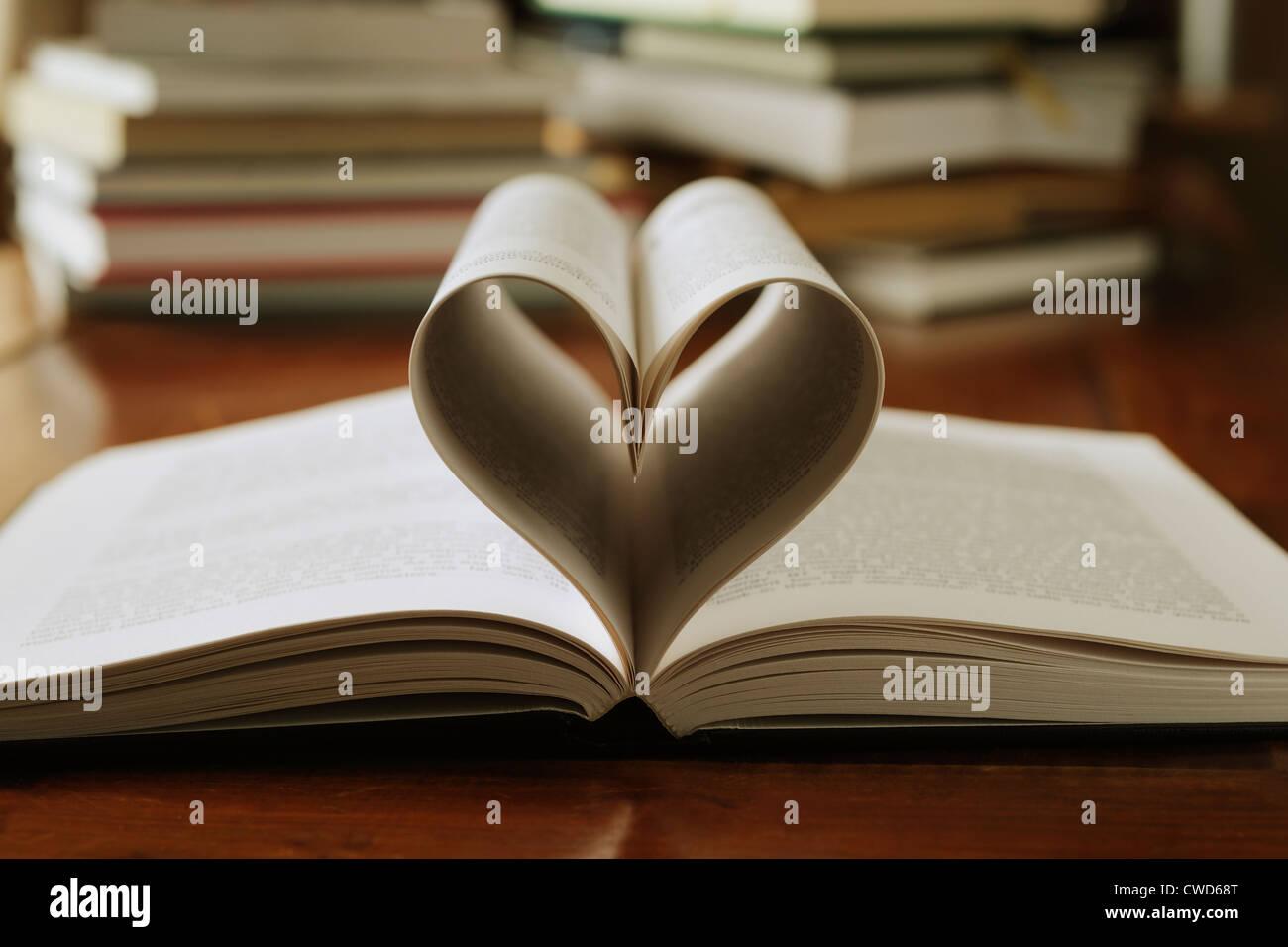 Pages de réserve formé dans le coeur Banque D'Images