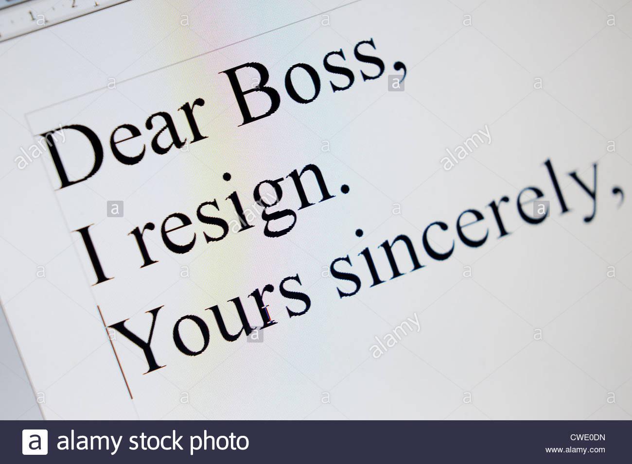 Lettre de démission. Photo Stock