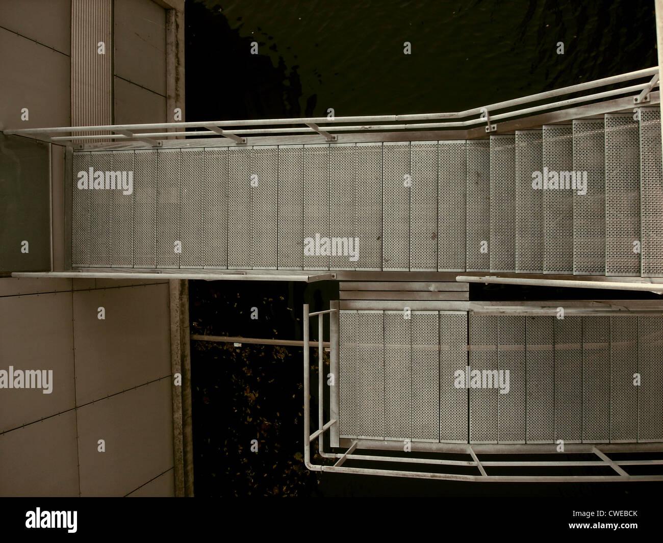 Étapes,escalier,inox Banque D'Images