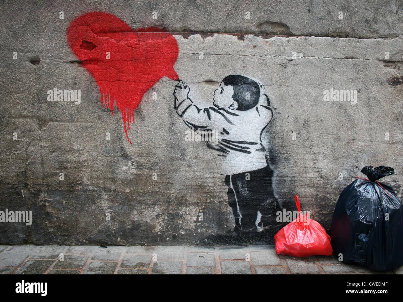 La pulvérisation,coeur,graffiti,streetart Banque D'Images