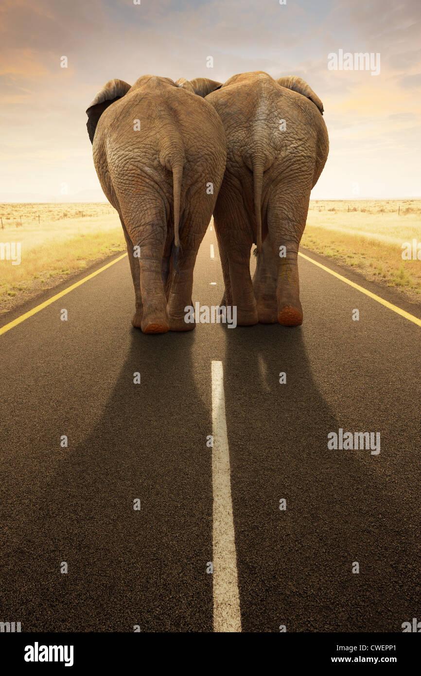Image conceptuelle - aller loin ensemble / voyager par route (Digital composite) Banque D'Images