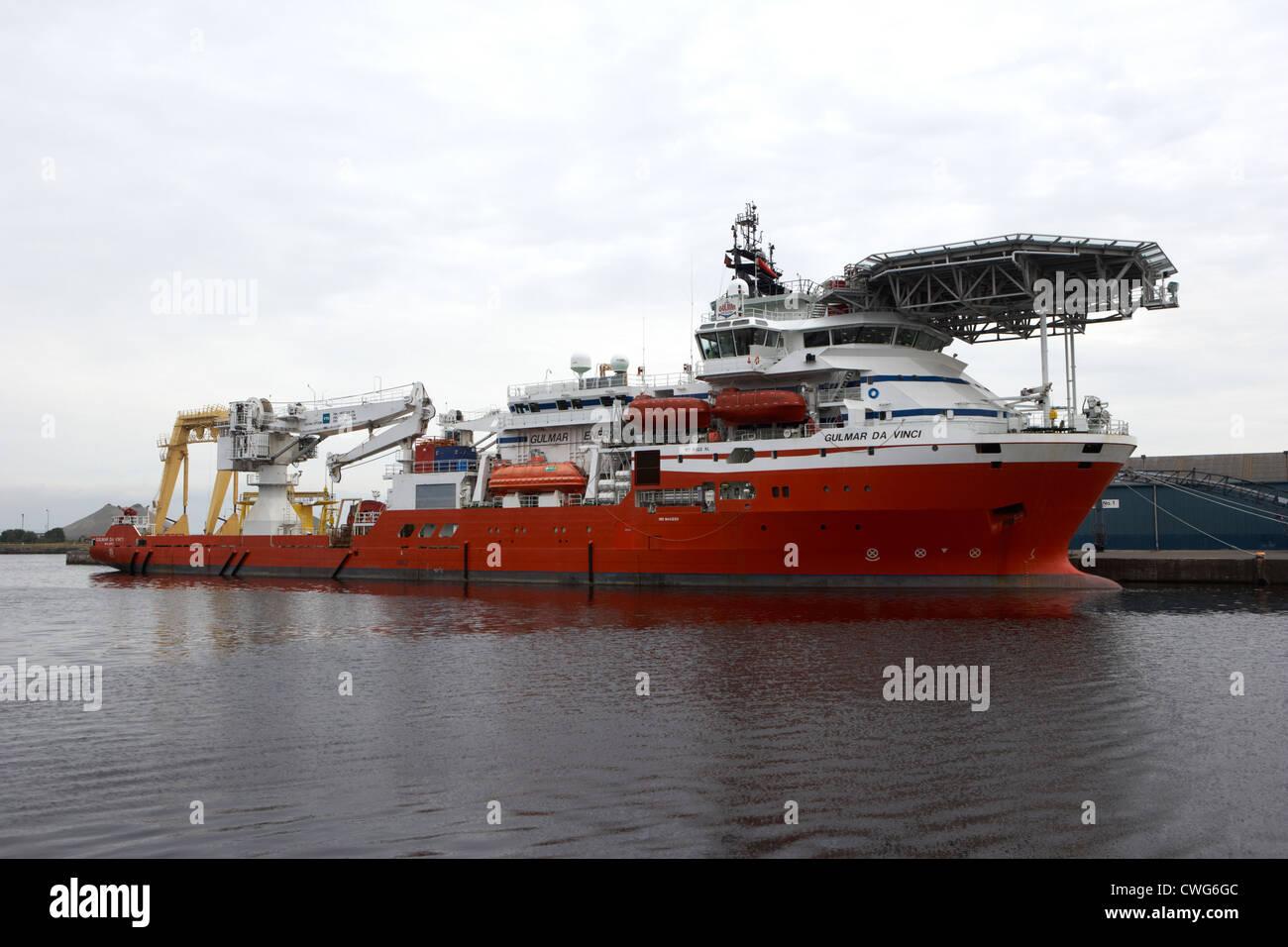 Gulmar da vinci au navire de support de plongée de Leith Docks Edinburgh, Scotland, UK, Royaume-Uni Photo Stock