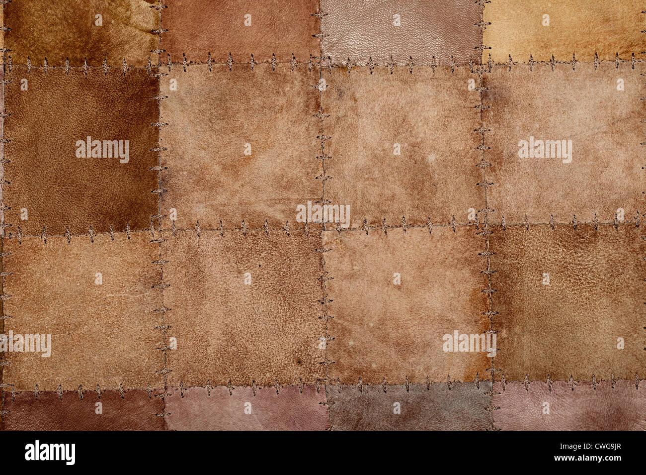 Couture haute résolution texture en cuir naturel Banque D'Images